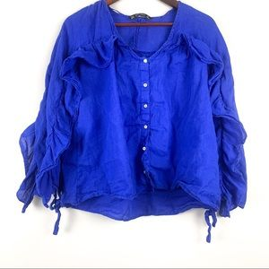 Zara button down shirt / blouse size M blue